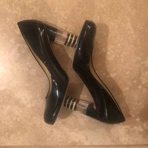 Kate Spade Black Patent with Lucite-Striped Heel